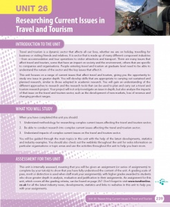 Unit 26 Researching Current Issues in Travel and Tourism eUnit (2010 specifications)