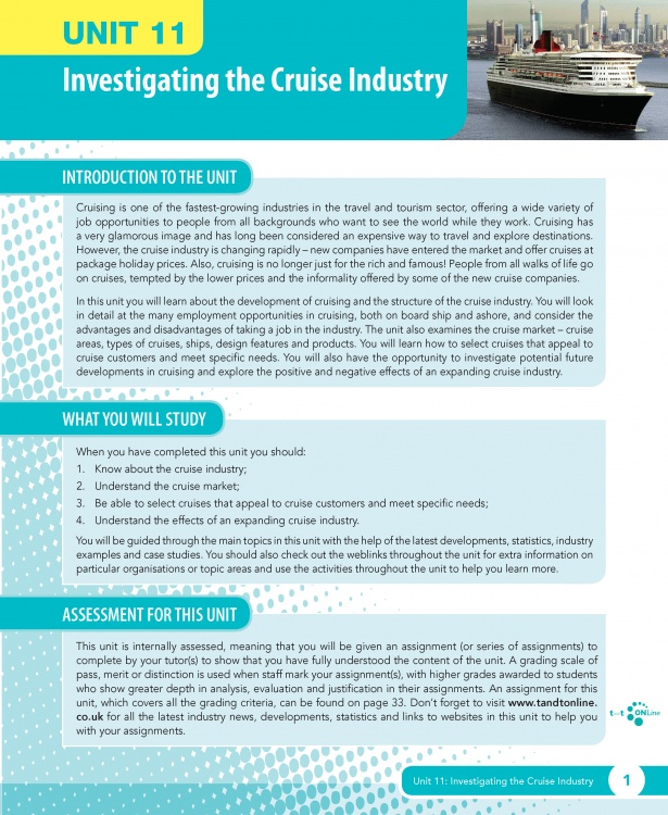 investigating the cruise industry Unit 11 investigating the cruise industry ebook sample pages.