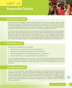 Unit 12 Responsible Tourism eUnit (2010 specifications)