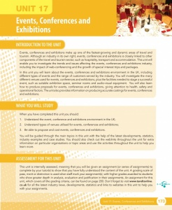 Unit 17 Events, Conferences and Exhibitions eUnit (2010 specifications)