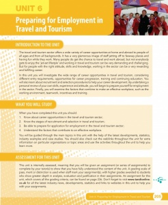 Unit 6 Preparing for Employment in Travel and Tourism eUnit (2010 specifications)