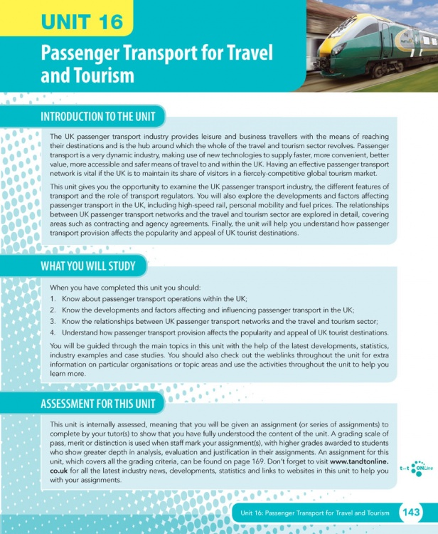 Unit 16 Passenger Transport for Travel and Tourism eUnit (2010 specifications)