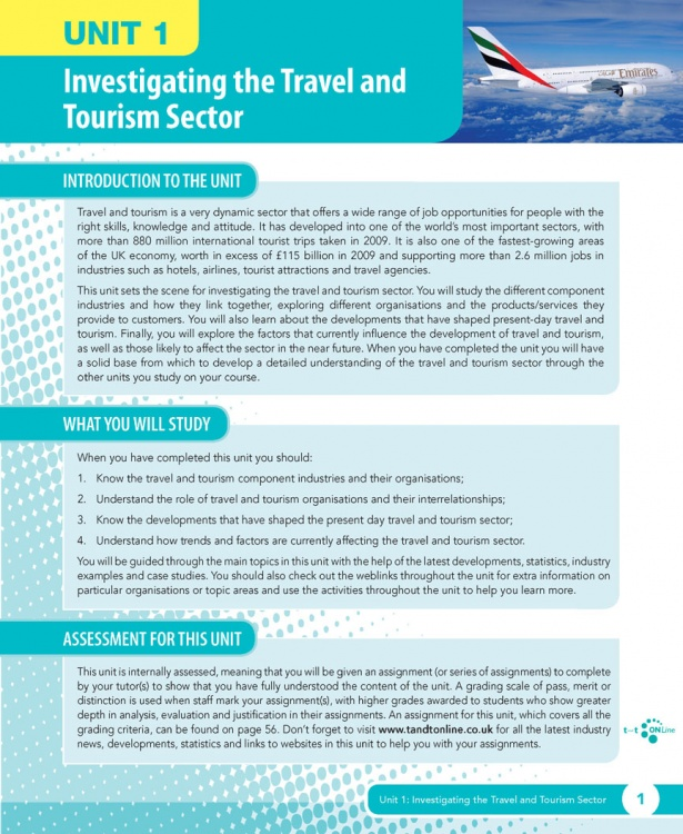 Unit 1 Investigating the Travel and Tourism Sector eUnit (2010 specifications)