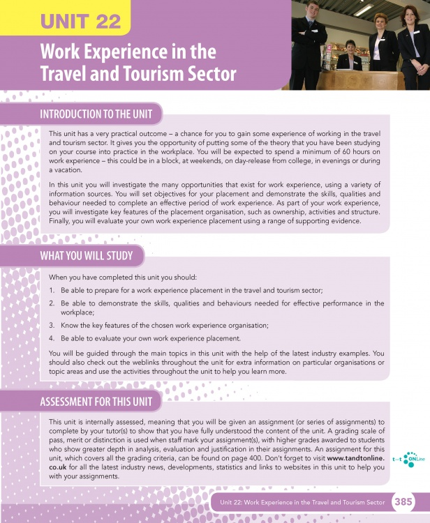 Unit 22 Work Experience in the Travel and Tourism Sector eUnit (2010 specifications)