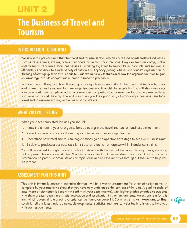 Unit 2 The Business of Travel and Tourism eUnit (2010 specifications)