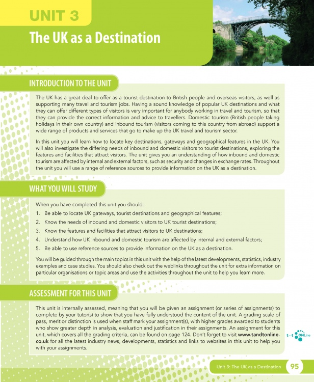 Unit 3 The UK as a Destination eUnit (2010 specifications)