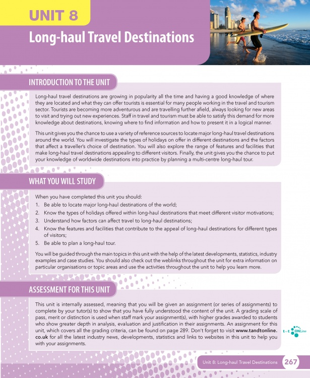 Unit 8 Long-haul Travel Destinations eUnit (2010 specifications)